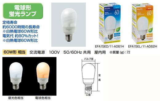 【ELPA】電球形蛍光ランプ