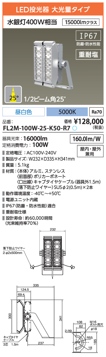 FL2M-100W-25-K50-R7