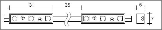 SSライト LEDモジュール スリム3球-1Chip