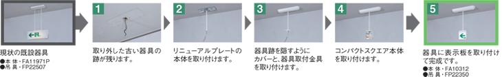 天井直付吊下型誘導灯の場合