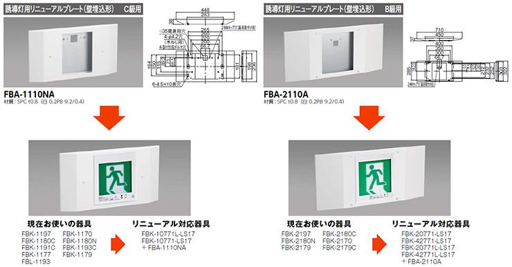 壁埋込形誘導灯リニューアルプレート