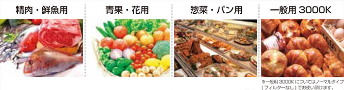 食品別、用途別に豊富な光色をラインナップ