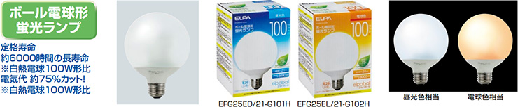 ELPA ボール電球型蛍光ランプ 100W相当