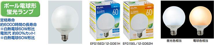 ELPA ボール電球型蛍光ランプ 60W相当