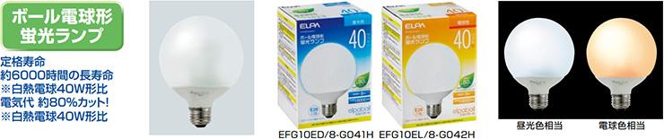 ELPA ボール電球型蛍光ランプ 40W相当