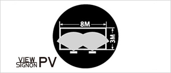 W:8M/H:3Mの大型サインを2灯でカバー