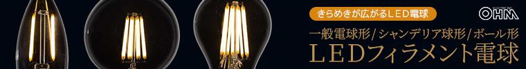 オーム電機 LEDフィラメントタイプ電球