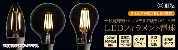 オーム電機(OHM) LEDフィラメントタイプ電球
