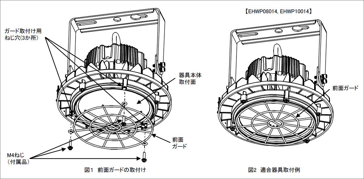 LEDioc HIGH-BAY θ150W・120W・100W用 ガードの仕様について